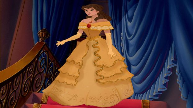 My Redesign of Emma Watson's Yellow Belle Dress by AzulaLover1