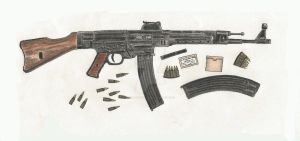 StG-44 Colored Pencil by stopsigndrawer81