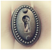 Peephole Lovers Steampunk Ring by asunder