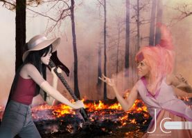 Adventure Time! - Flame Princess versus Marceline by Nayias01