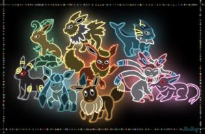 Neon Eeveelutions by Rose-Beuty