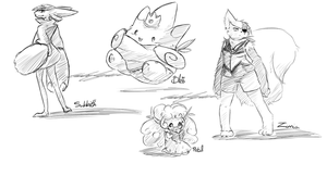 PKMNC Chara Doodles by TheLonelyQueen