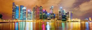 Singapore harbor night panorama by Aledgan