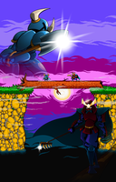 Shovel Knight vs. Rake Samurai by theinkBot