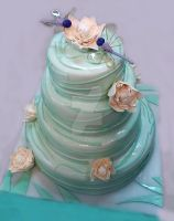 Water Lilly Wedding Cake by 6eki