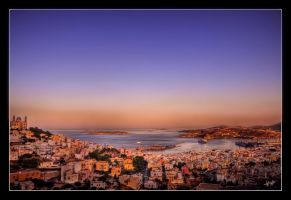 Syros Harbour Greece by etsap