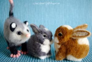 Possum and bunnies by SaniAmaniCrafts