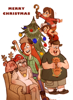 Gravity Falls Merry Christmas by Springkiwi