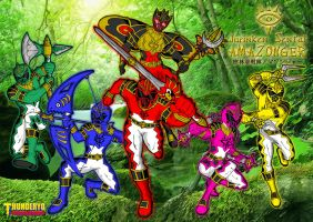Jurinken Sentai AMAZONGER wallpaper version by thunderyo