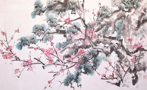Sumie pine tree and plum by bsshka