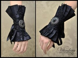Black gothic cuff bracelet with flowers by vilindery