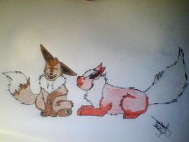 Eevee and Flareon by RavensGrrl