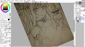 Asuna Inking and Colour in progress by Joe-Ball
