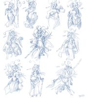 Female Pandas concepts Model Sheet by Wouhlven