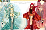 [CLOSED] Fire and Ice Princesses Adopts by Buujang