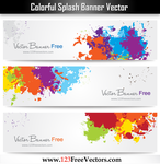 Colorful Splash Banner Vector by 123freevectors