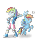 Rainbow Dash with Rainbow Dash by NewSupaLuigiBros
