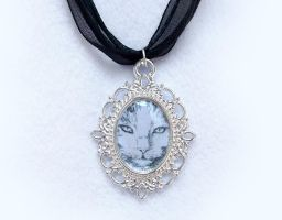 Cat Silver Plated Cameo Pendant Necklace by DeadLulu