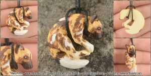 Painted Resin African Wild Dog Necklace by Chaotica-I