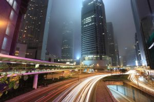 Traffic in city at night by MarySanchez-Roberts