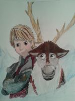 Kristoff and Sven by dawnflower8