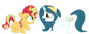Sunshine Sunshine! .Sunset and Princess Chrysalis. by shadcream4eva