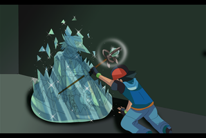 Pokemon Fusion Scene: Ash'Encounter With Auron by hikariangelove