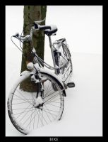 A bike in the snow by goldmines