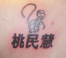 tribal monkey with chinese name by missjean