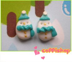 Frosty snowmen stud earrings by coffishop