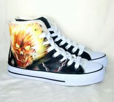 Hand painted fire skull shoes by augurlee