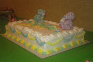 teddy bear baby shower cake by nlpassions