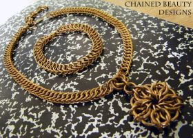 Brass Celtic Star Choker and Persian Bracelet by ChainedBeauty