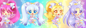 HappinessCharge Precure Innocent Form Chibis by neutrinoflavor