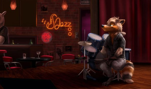 Commission: Drummermax64 (The Jazz Club) by Temiree