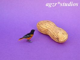 Ooak Miniature Baltimore Oriole Bird Sculpture by AGZR-STUDIOS