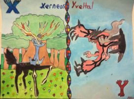 Xerneas and Yveltal Watercolor by Brawl483