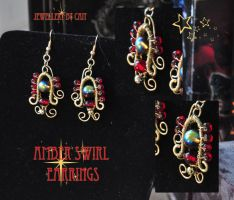 Amber Swirl Earrings by tanyquil