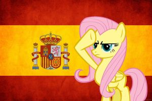 Fluttershy Salute to Spain by Pacman552