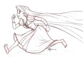 Rapunzel sketch and lineart by ArtsyMaria