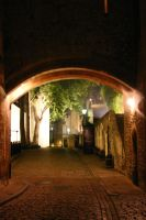 Cobblestone Street at Night by FoxStox