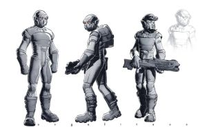 SCIFI SOLDIER Comic book style by angelitoon