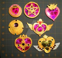 Sailor Moon Leather Brooches by BrittanyJustus