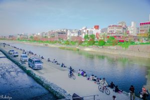 Afternoon at the river in Kyoto by Rikitza