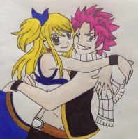 Natsu and Lucy by Halie-Kai
