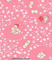 Baby Bunny Hanami Fabric by aimeekitty