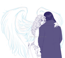 JohnxOphelia - Under angel wings... LA by RedPassion