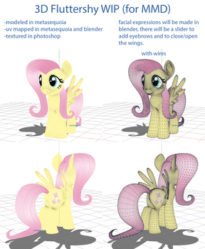 [MMD] WIP: 3D Fluttershy by SnowyTime