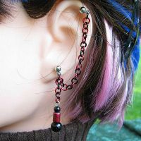 Red and Black Earring by merigreenleaf