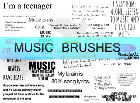 MUSIC TEXT BRUSHES by originaldixia
